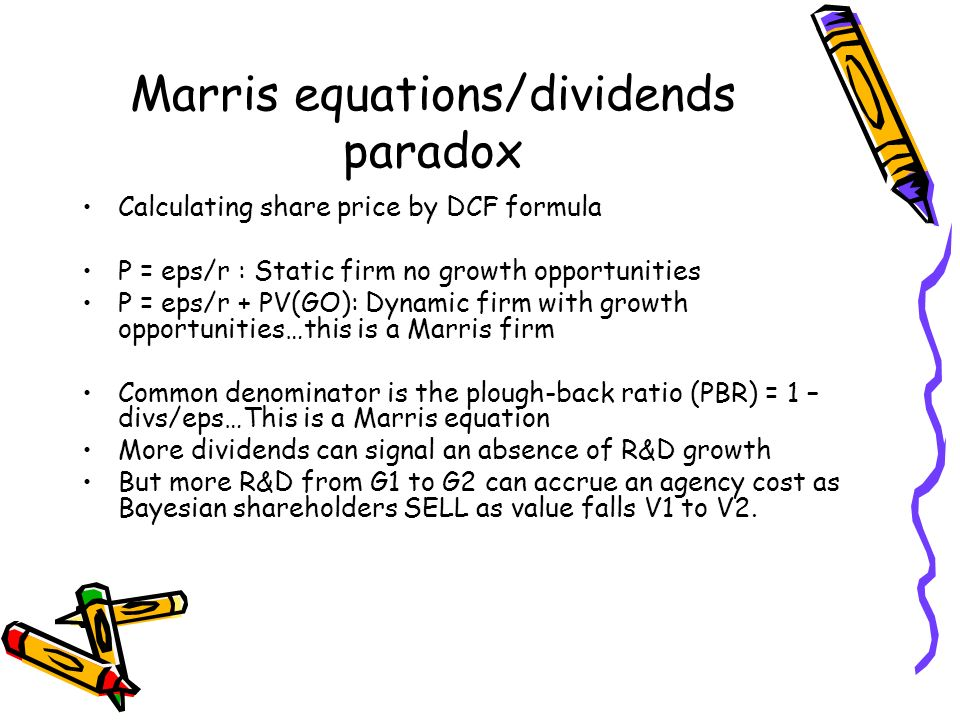 Marris equations/dividends paradox