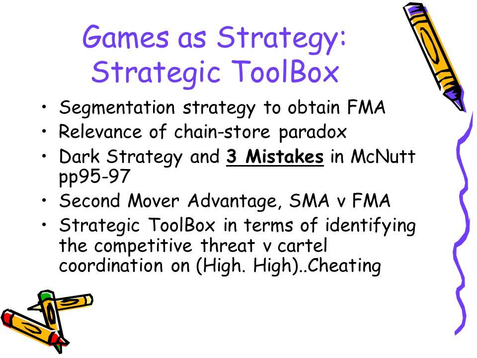 Games as Strategy: Strategic ToolBox