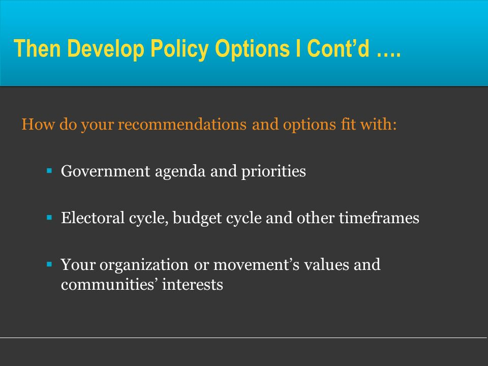 Then Develop Policy Options I Cont'd ….