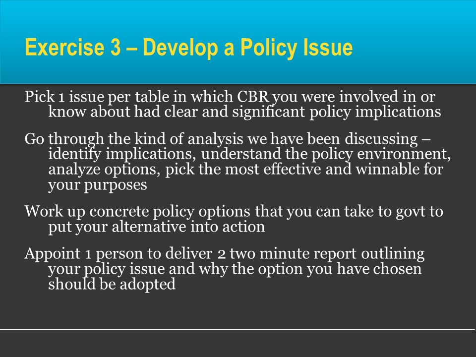 Exercise 3 – Develop a Policy Issue
