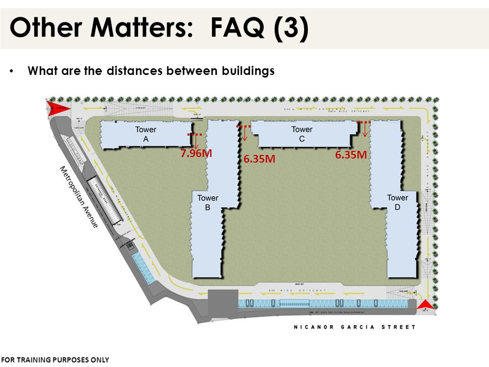 Other Matters: FAQ (3) What are the distances between buildings 7.96M