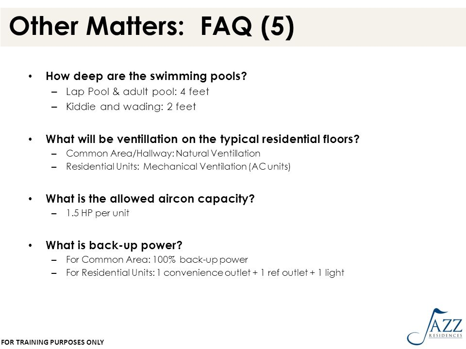 Other Matters: FAQ (5) How deep are the swimming pools