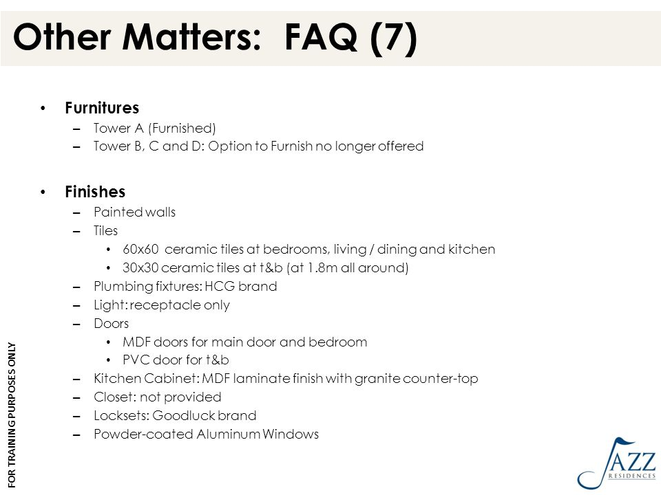 Other Matters: FAQ (7) Furnitures Finishes Tower A (Furnished)