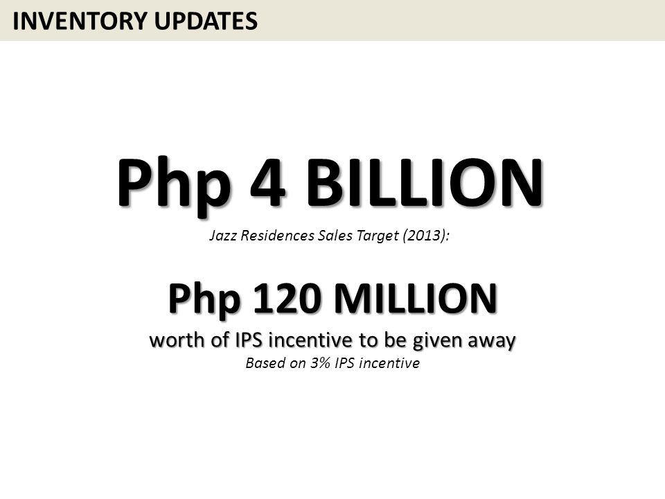 Php 4 BILLION Php 120 MILLION INVENTORY UPDATES