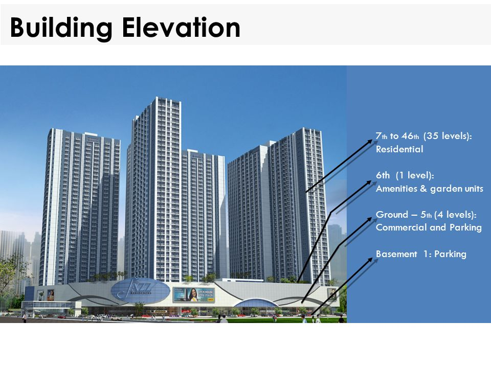 Building Elevation 7th to 46th (35 levels): Residential 6th (1 level):