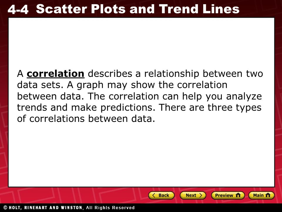 A correlation describes a relationship between two data sets