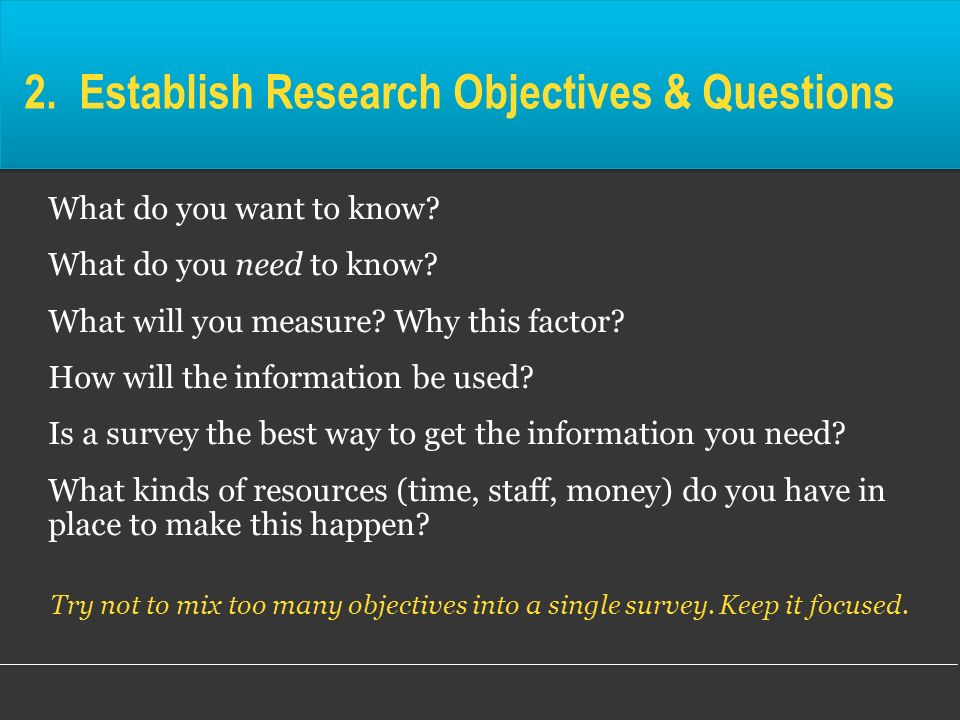2. Establish Research Objectives & Questions
