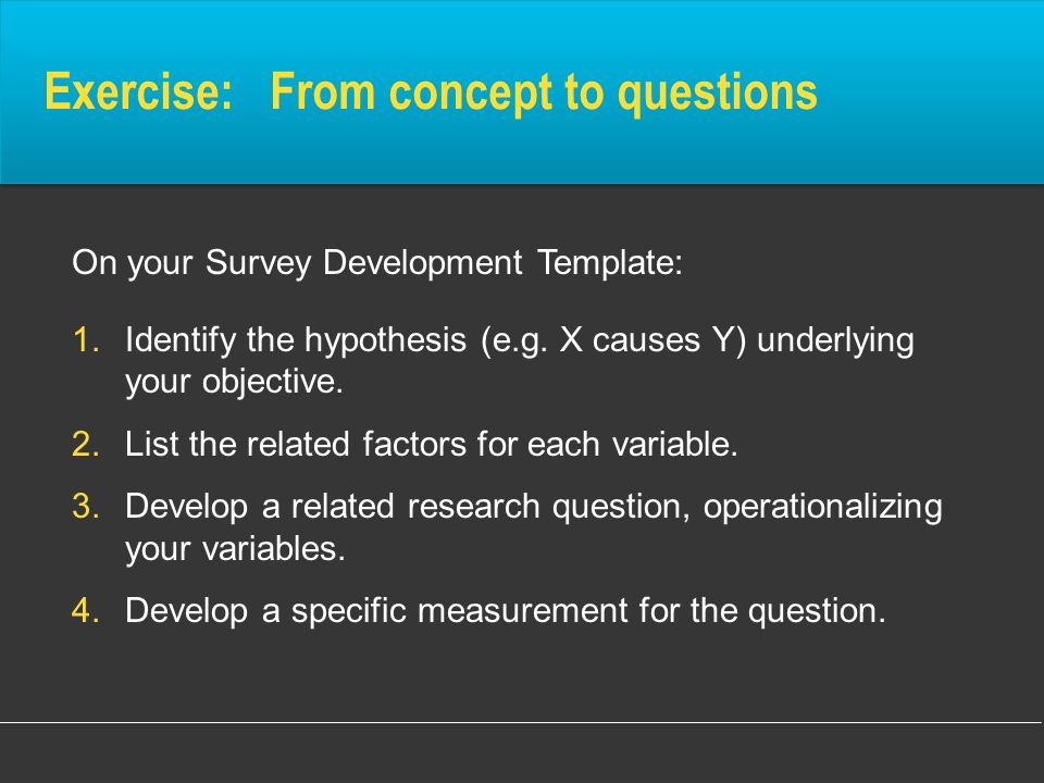 Exercise: From concept to questions