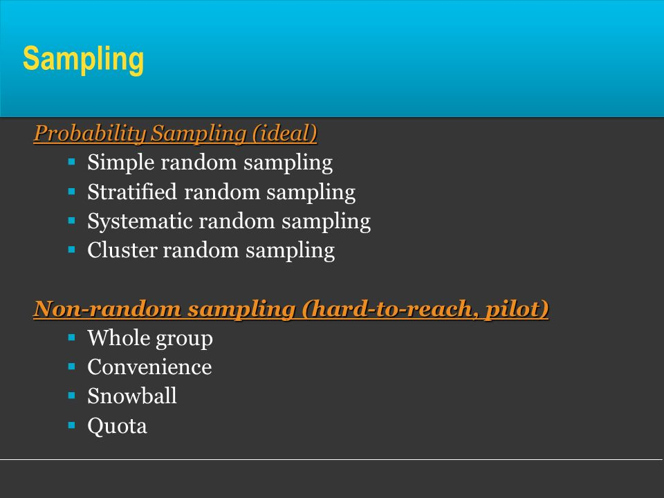 Sampling Probability Sampling (ideal) Simple random sampling