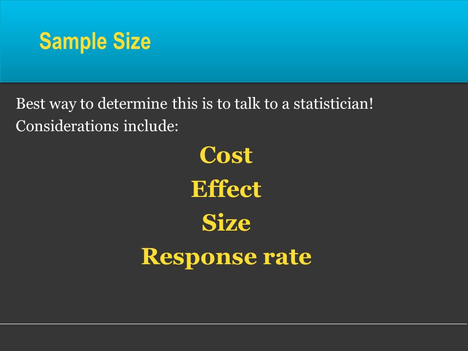 Cost Effect Size Response rate