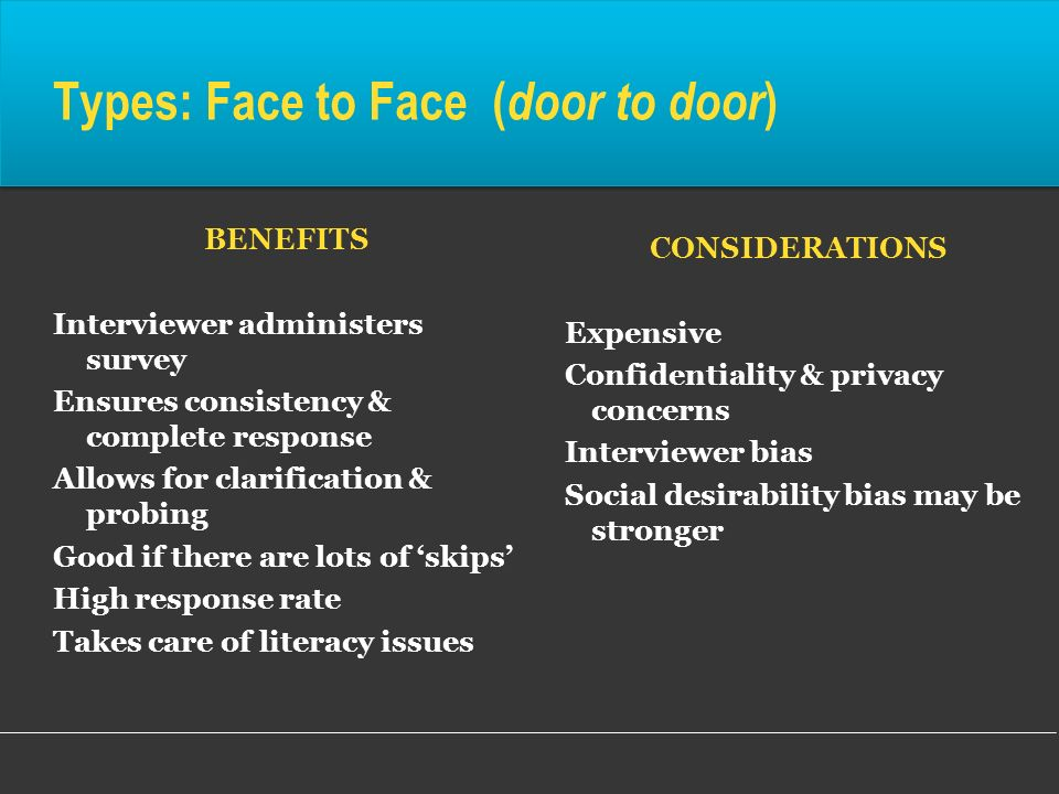 Types: Face to Face (door to door)