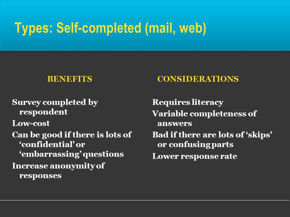 Types: Self-completed (mail, web)