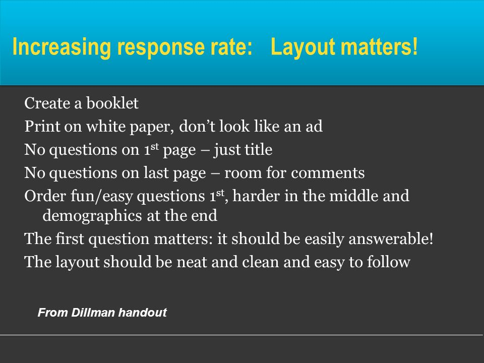 Increasing response rate: Layout matters!