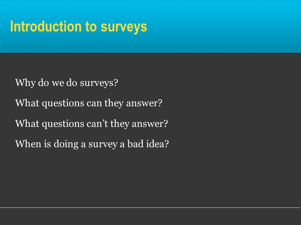 Introduction to surveys