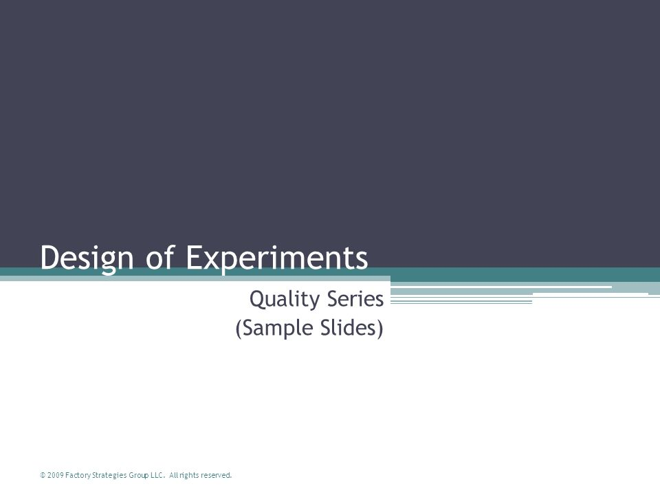 Quality Series (Sample Slides)