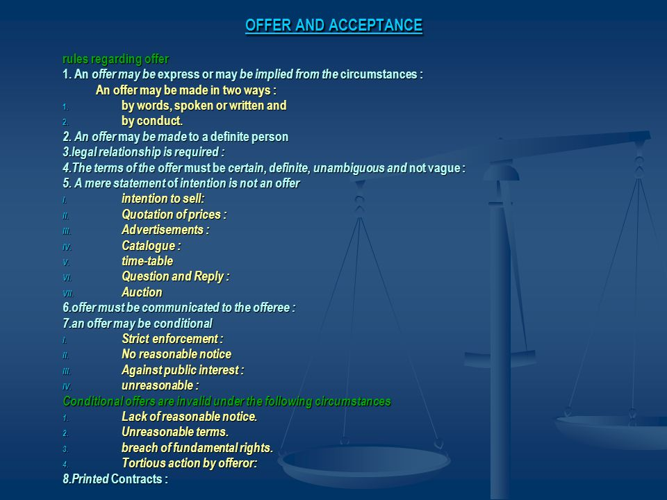 OFFER AND ACCEPTANCE rules regarding offer
