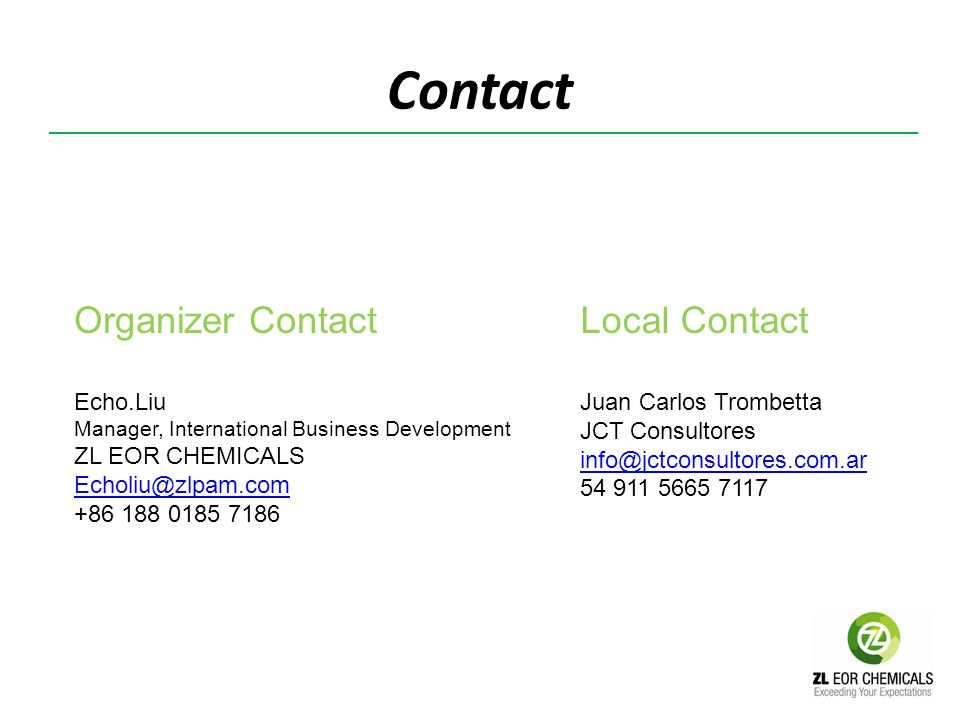Contact Organizer Contact Local Contact Echo.Liu ZL EOR CHEMICALS