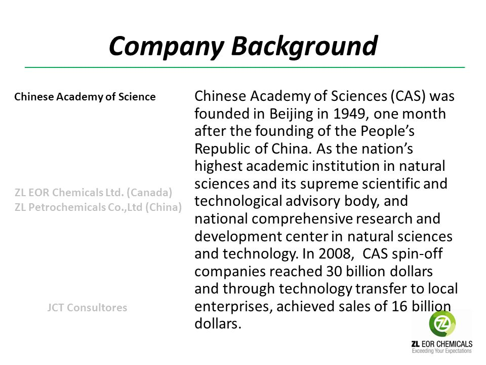Company Background Chinese Academy of Science.