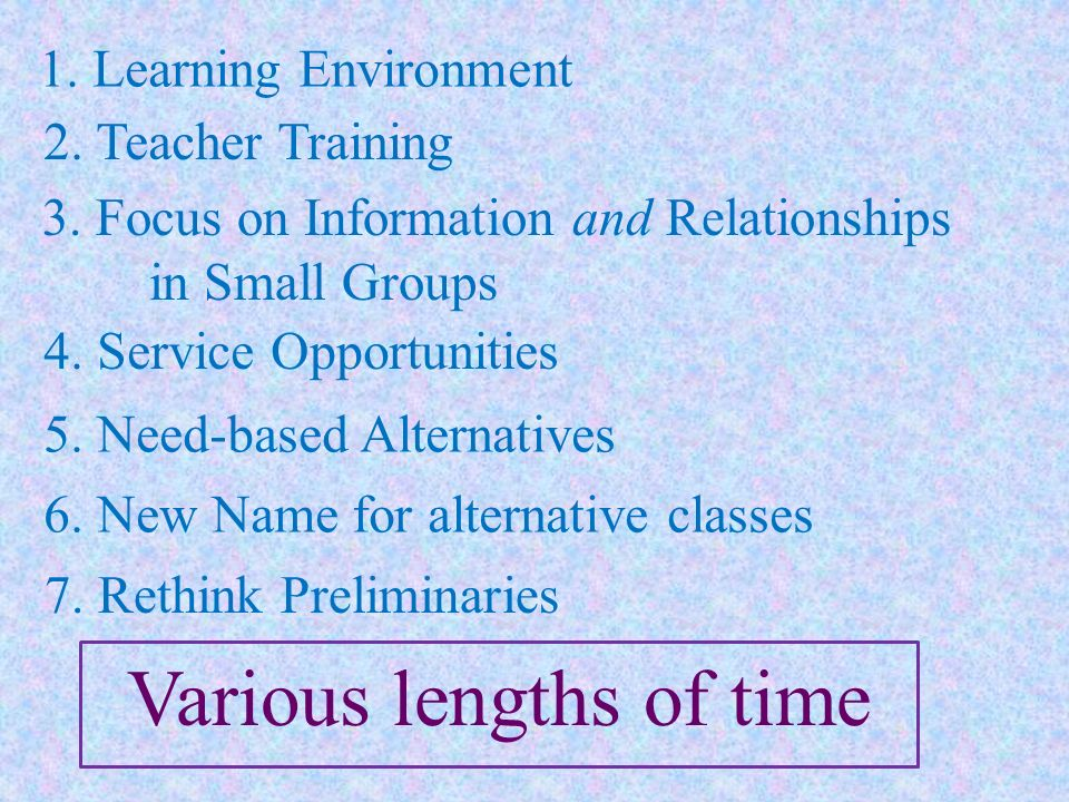 Various lengths of time