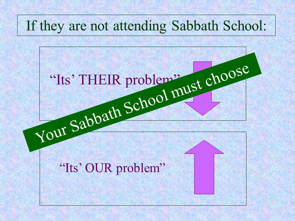 Your Sabbath School must choose