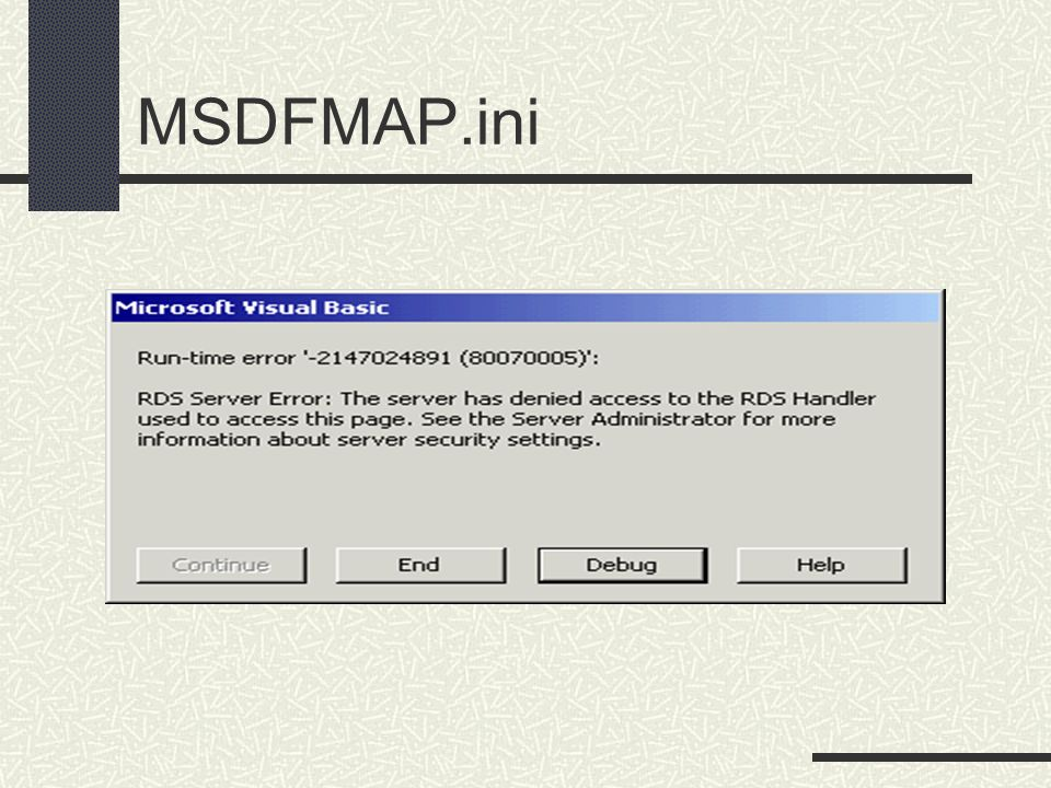 MSDFMAP.ini This was the knottiest problem