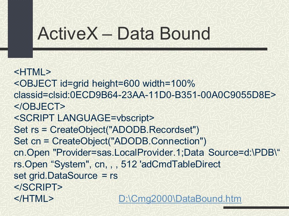 ActiveX – Data Bound