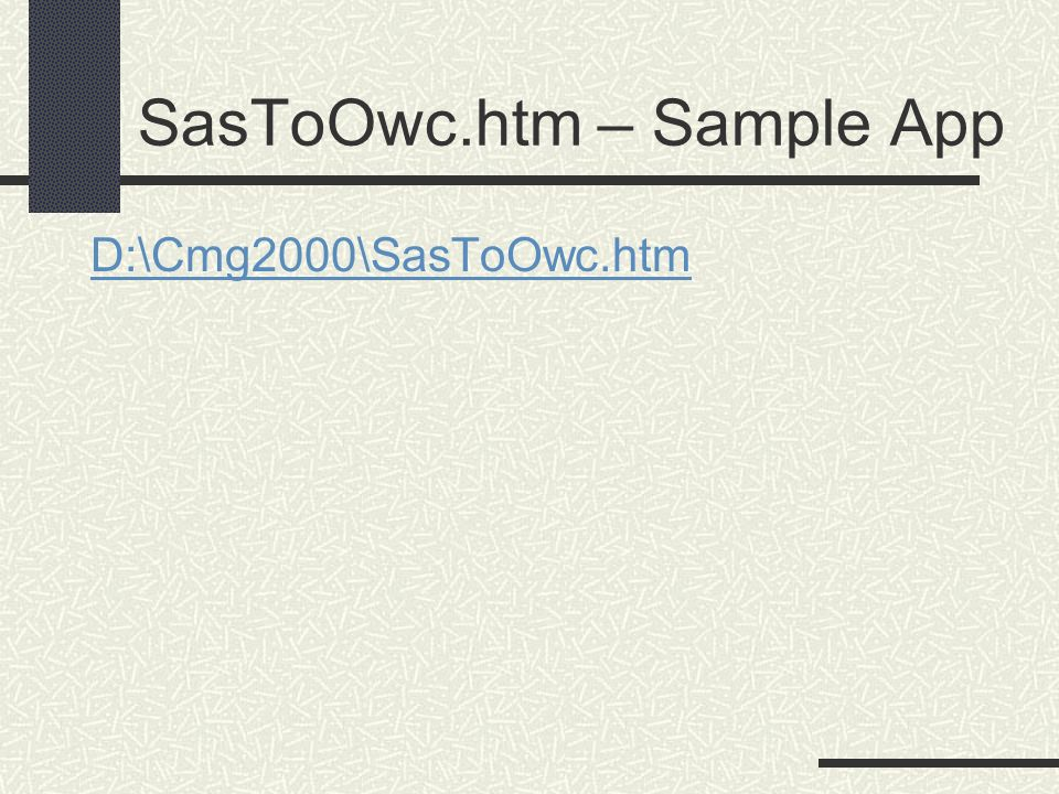 SasToOwc.htm – Sample App