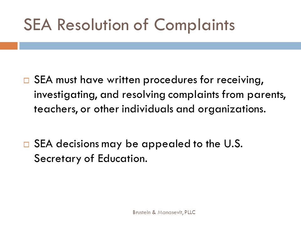 SEA Resolution of Complaints
