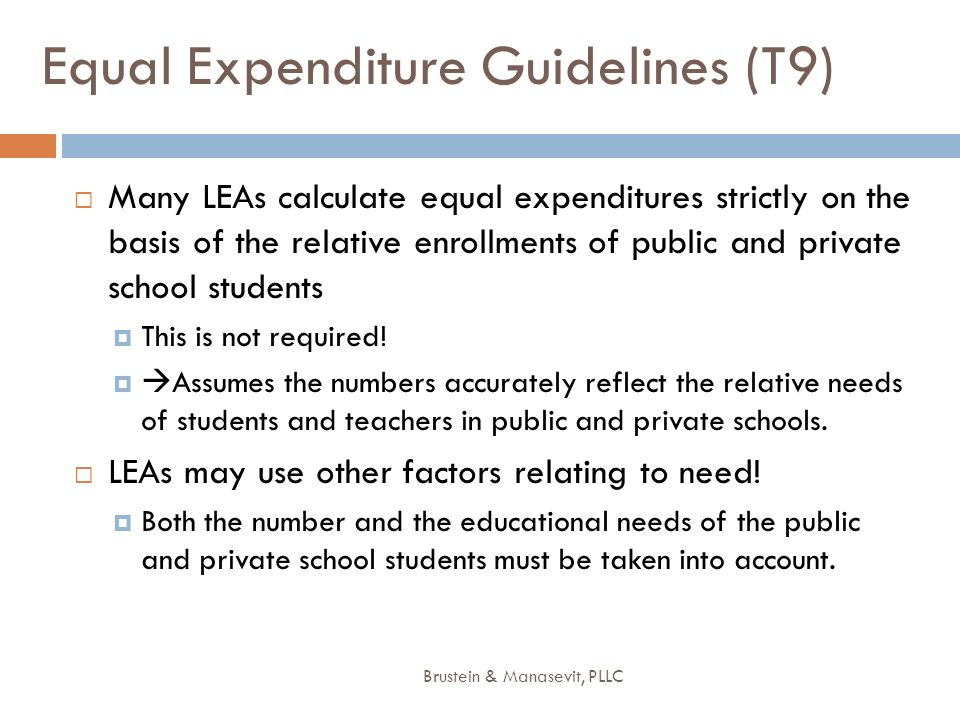 Equal Expenditure Guidelines (T9)