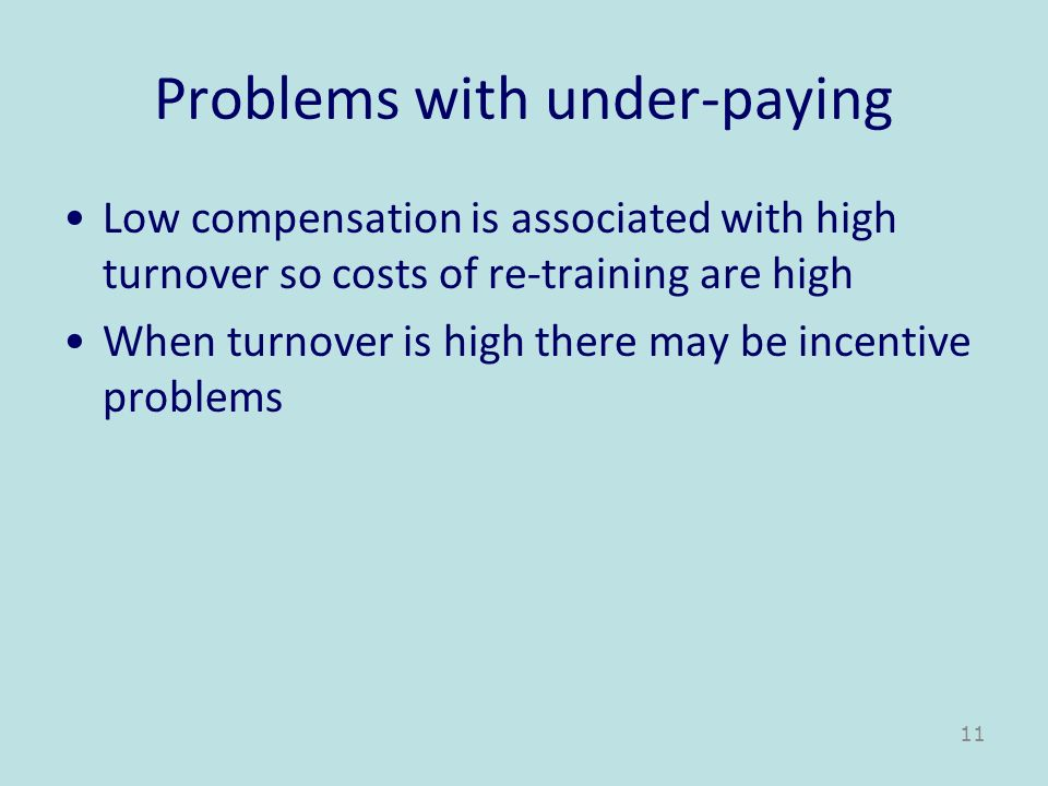 Problems with under-paying