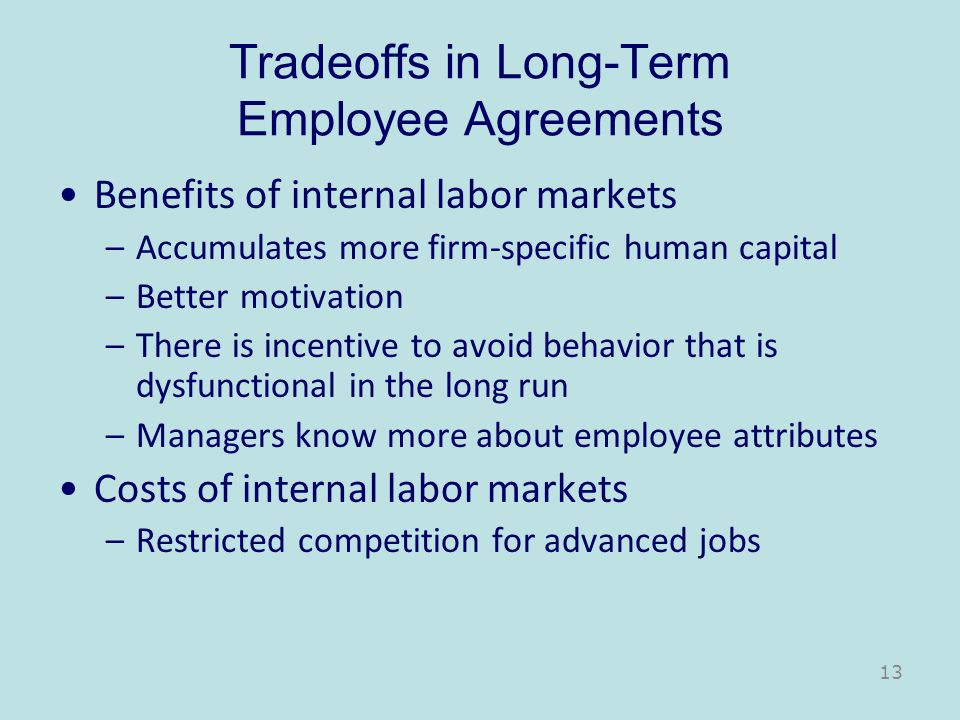 Tradeoffs in Long-Term Employee Agreements