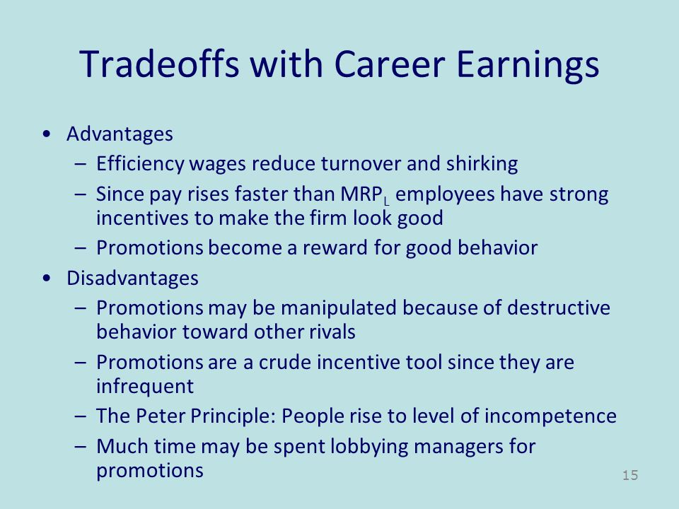 Tradeoffs with Career Earnings