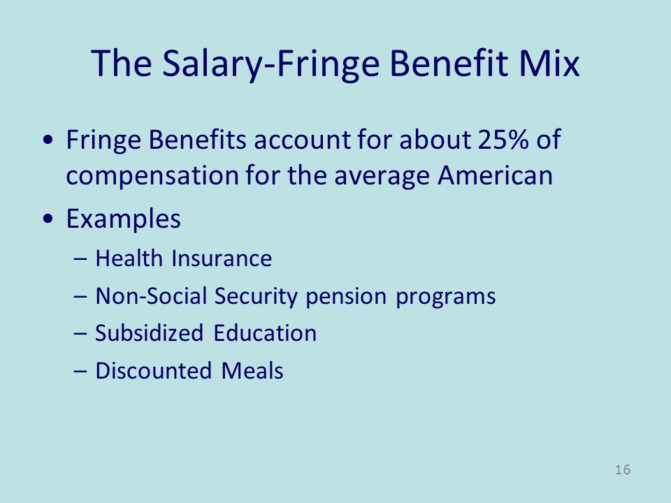 The Salary-Fringe Benefit Mix