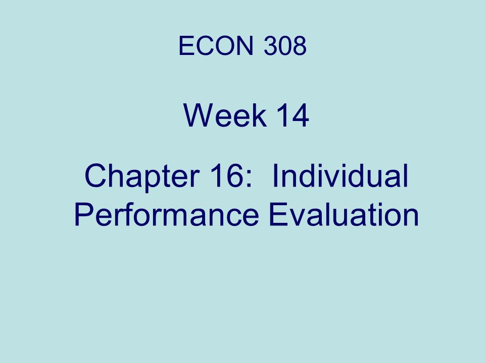 Chapter 16: Individual Performance Evaluation