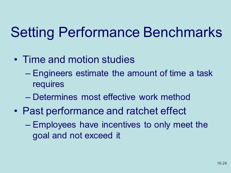 Setting Performance Benchmarks