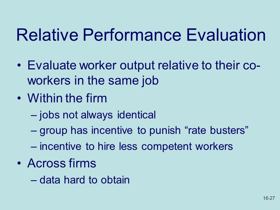 Relative Performance Evaluation