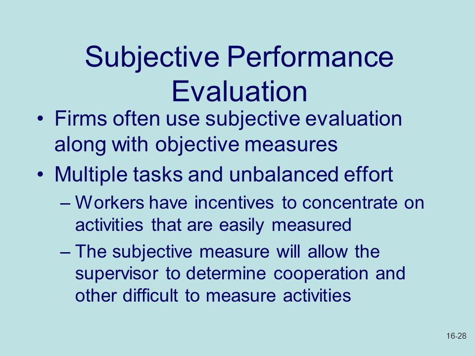 Subjective Performance Evaluation