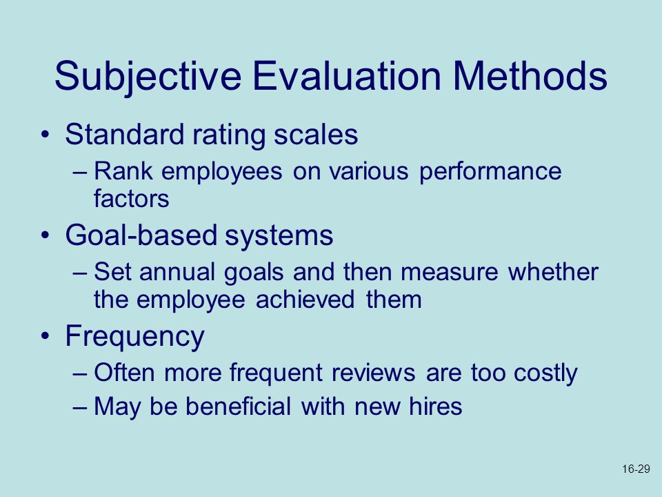 Subjective Evaluation Methods