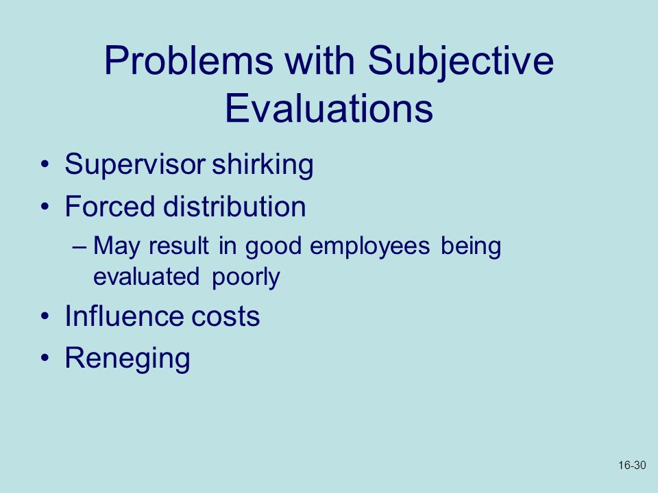 Problems with Subjective Evaluations