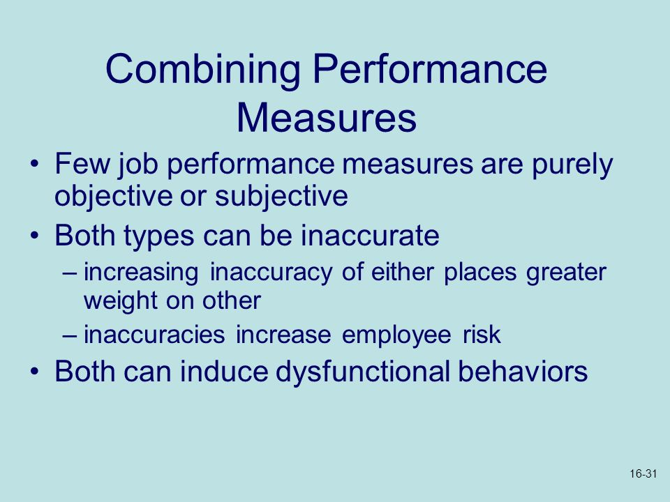 Combining Performance Measures