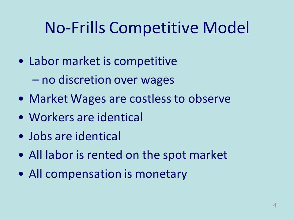 No-Frills Competitive Model