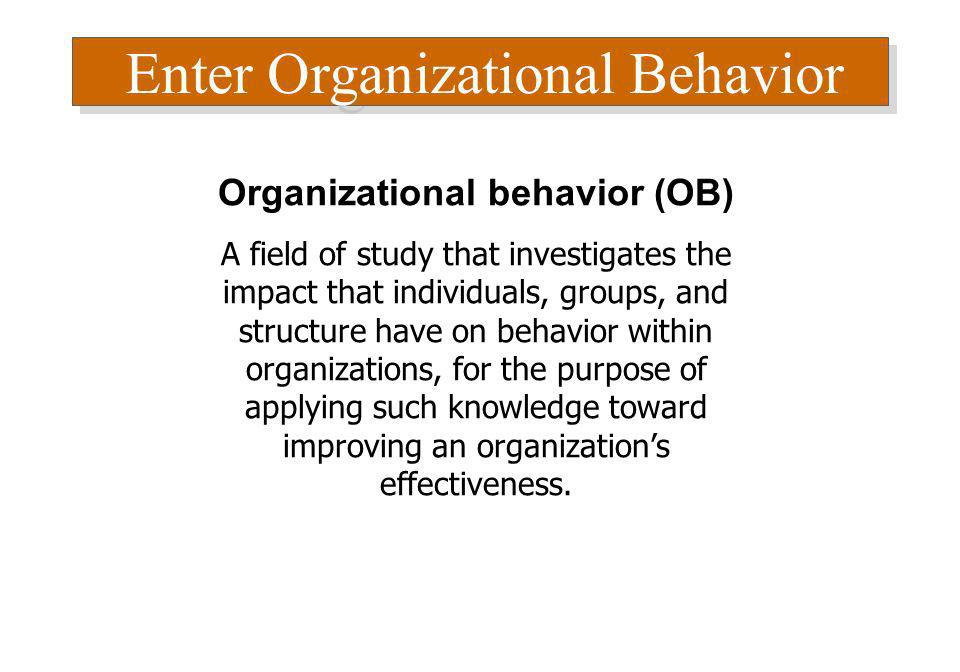 Organizational behavior (OB)
