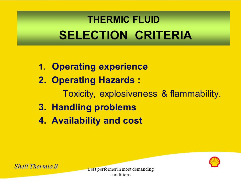 THERMIC FLUID SELECTION CRITERIA