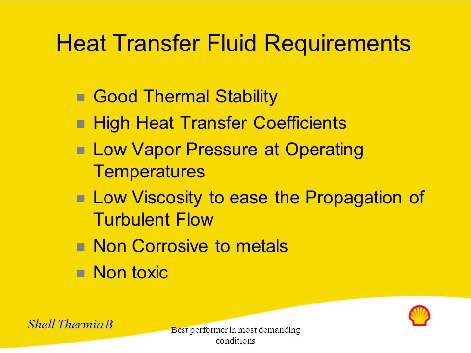 Heat Transfer Fluid Requirements