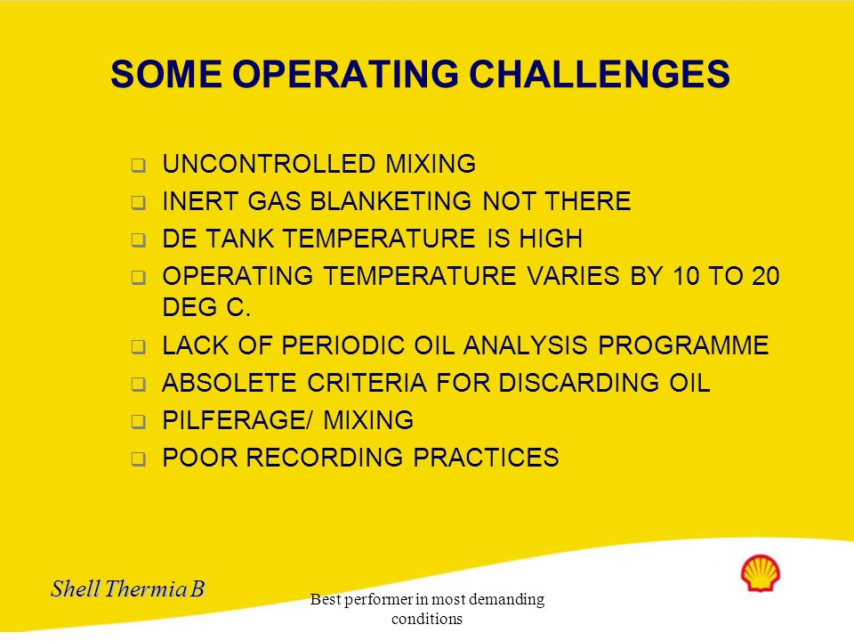 SOME OPERATING CHALLENGES