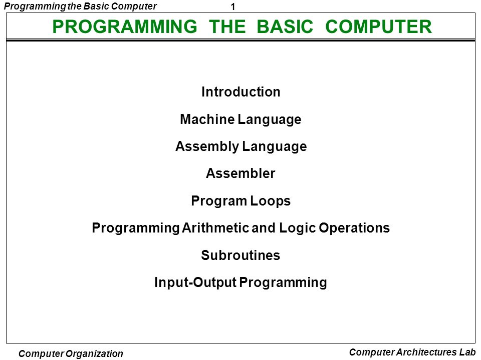 PROGRAMMING THE BASIC COMPUTER
