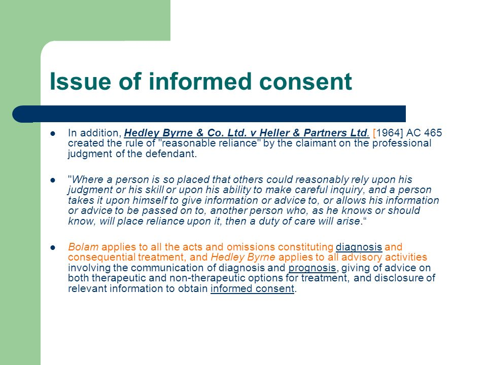 Issue of informed consent