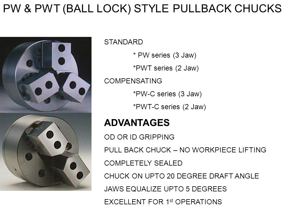 PW & PWT (BALL LOCK) STYLE PULLBACK CHUCKS