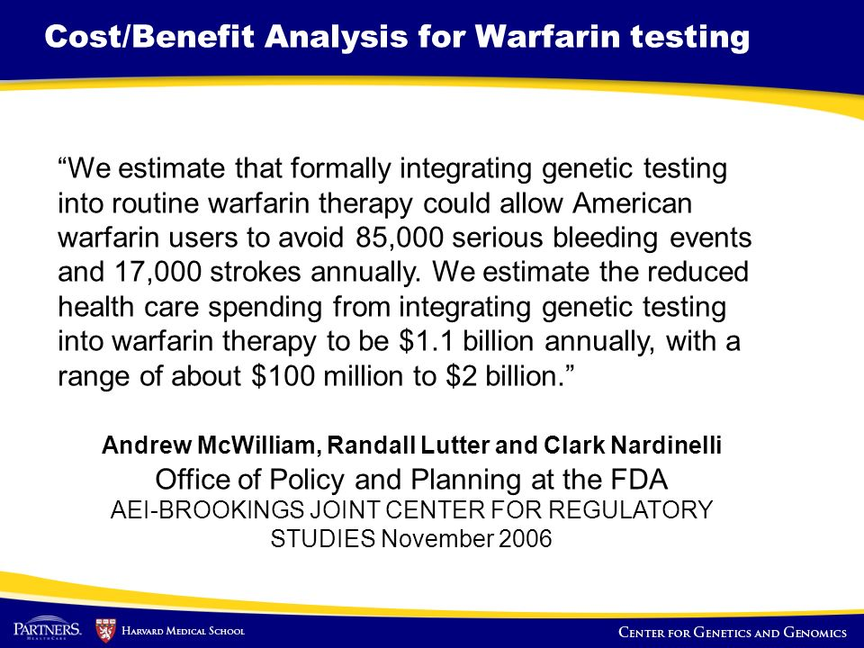 Cost/Benefit Analysis for Warfarin testing