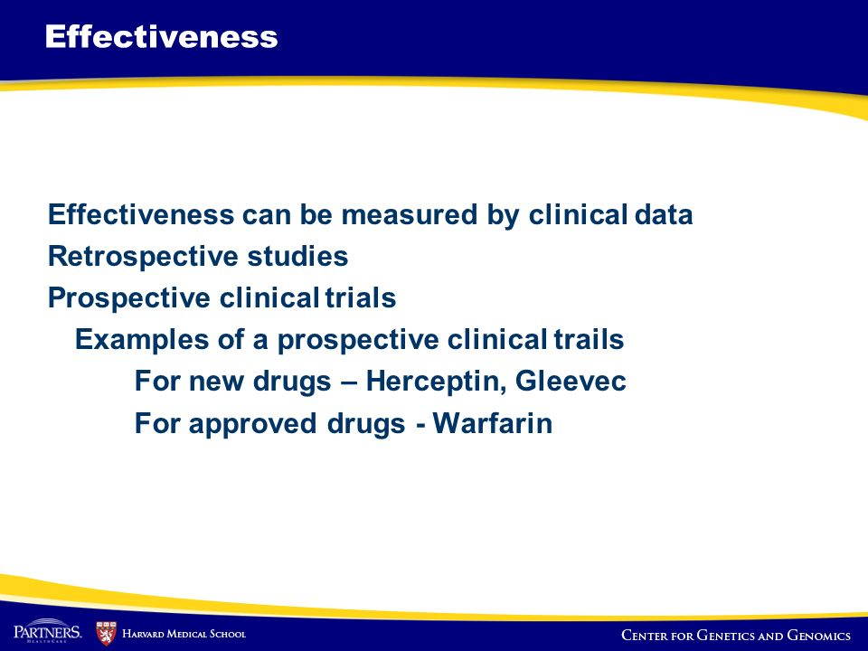 Effectiveness Effectiveness can be measured by clinical data